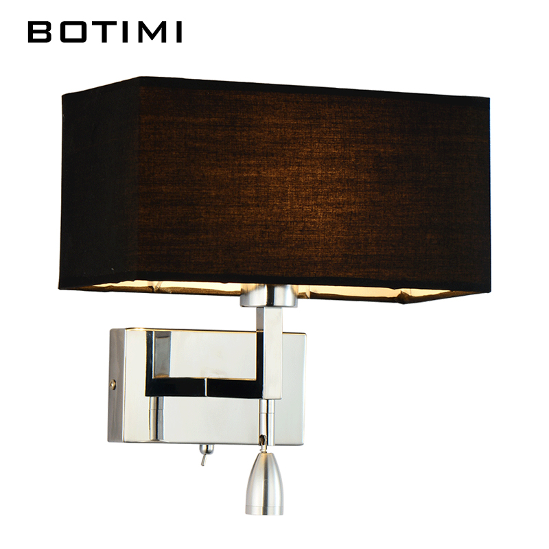 ФОТО BOTIMI Modern LED wall lamp for living room bedroom hotel bedside wall sconce with fabric lampshade LED luminaire home lighting