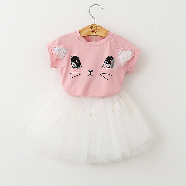Cute Cartoon Kitten Design Veil Dress Girls Clothes