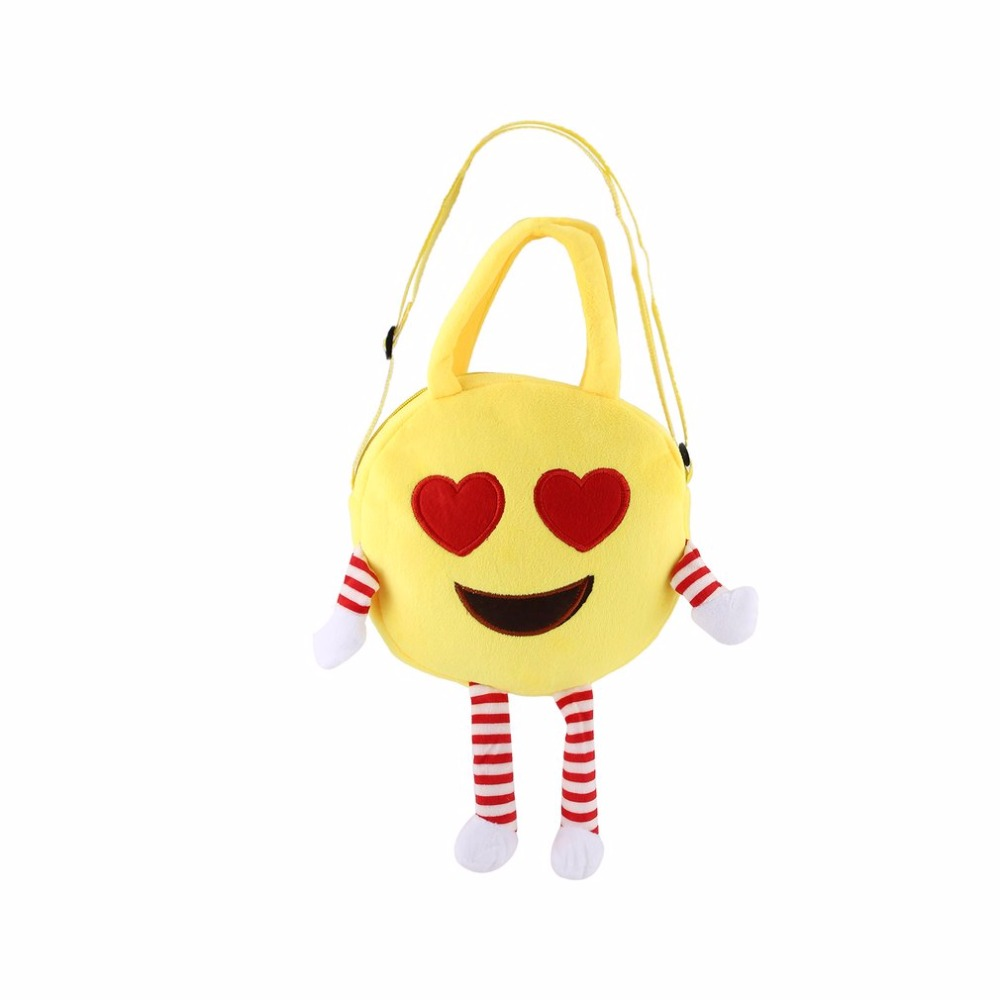 Cute Children Handbag Bag Face Expression Plush Toy Single Shoulder Cross Messenger Bag Kids Schoolbag Gift Boys Girls