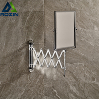 Bathroom Extended Folding Arm Square Wall Mounted Makeup Mirror 2 Face Magnifying Mirror
