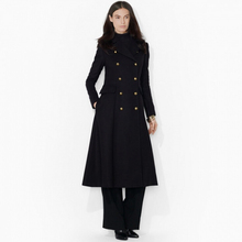 Women Super Fashion Ultra Long Woolen Jacket, Classic Double Breasted Extra Long Wool Jacket