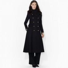 Women Super Fashion Ultra Long Woolen Jacket Classic Double Breasted Extra Long Wool Jacket