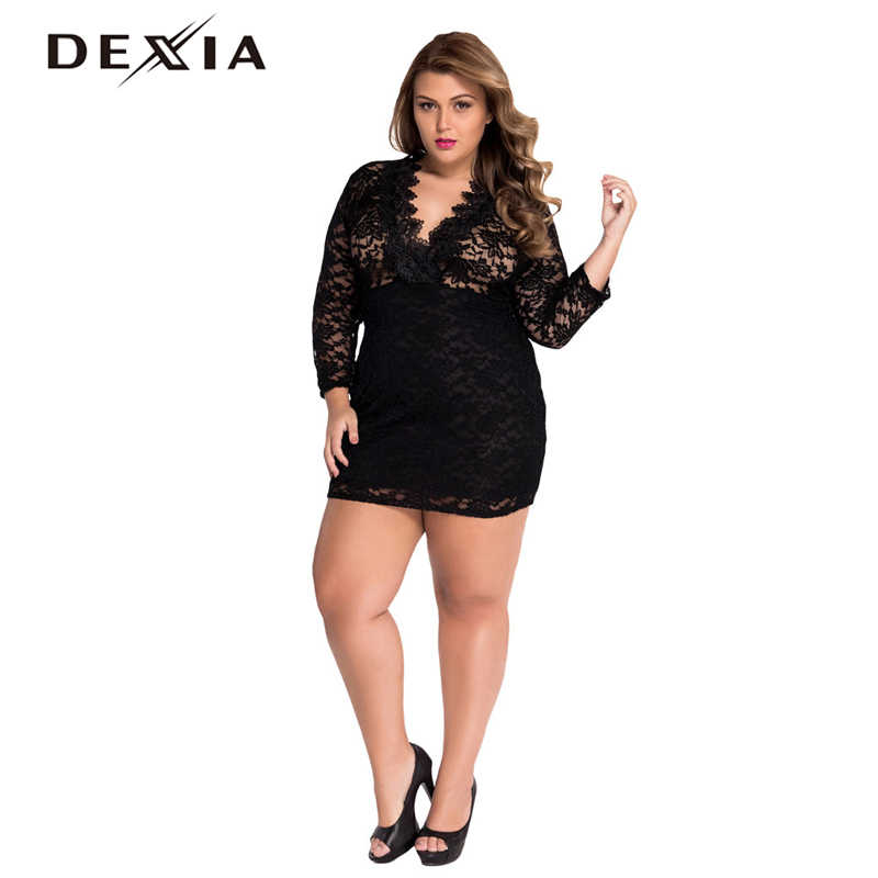 8e05739fc73 ... Sleeve Hollow Out Plus Size. RELATED PRODUCTS. DEXIA High Waist Lace Dress  Women Black Solid V-neck Sexy Dresses Bodycon Floral Hollow