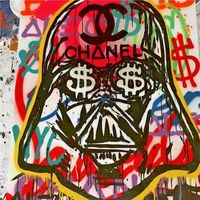 100% handmade Canvas Painting BANKSY Star Wars Poster For Graffiti On Canvas Street Art Home Decor Decorativer