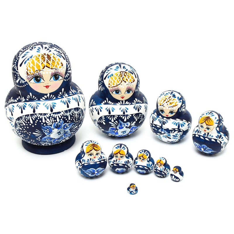 10Pcs/set Hand Painted Blue Wooden Russian Girl Nesting Dolls Babushka Gifts Paint Doll Toys For Children Decoration