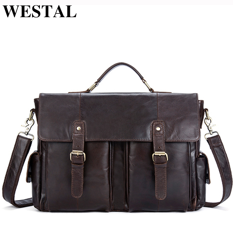 WESTAL Genuine Leather Men Bag Men s Briefcases Male Messenger Shoulder Crossbody Bags Vintage Business Laptop