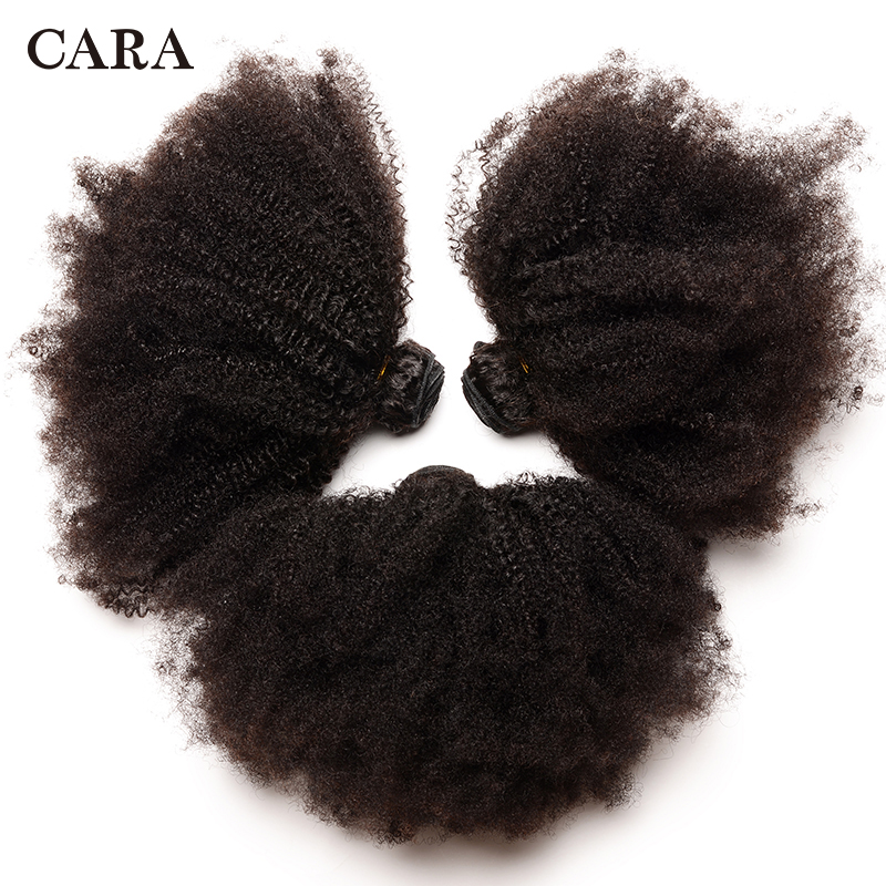 Mongolian Afro Kinky Curly Hair Human Hair Bundles 4B 4C Hair Weave Remy Natural Human Hair Extension CARA Products 1&3 Bundles-in Hair Weaves from Hair Extensions & Wigs