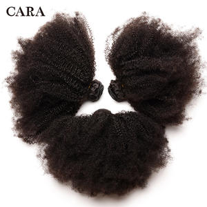 CARA Bundles 4B Human-Hair-Extension Curly Hair Weave Remy Cara-Products Afro Kinky Mongolian