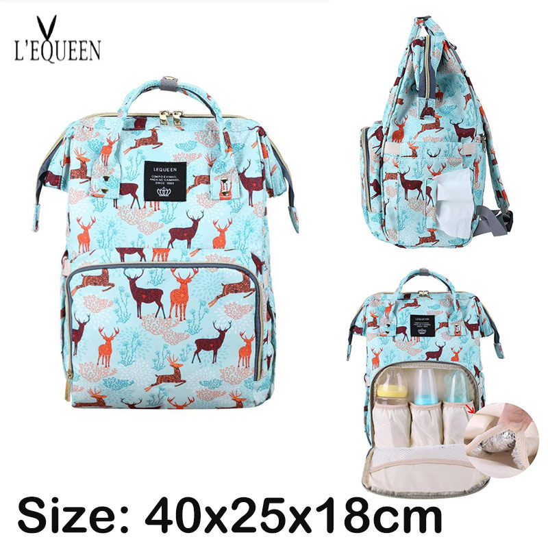 Mummy Maternity Diaper Nappy Bag Fashion Cartoon Deer Print Travel Shopping Backpack Large Capacity Nursing Bag for Baby Care