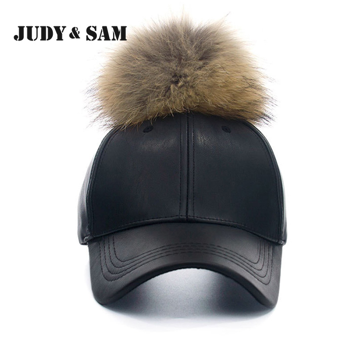 3f7b66c90c1 Hot Fashion PU Leather Men Cap Black Faux Leather Real Fur Pompom Pompoms Baseball  Caps Summer Hiphop Casual Snapback