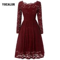 YOCALOR נשים פרחוני רקמת Midi שחור תחרה וינטג 'אופנה שמלת המפלגה סקסית שמלות חג טוניקה מקרית מגמות האחרון אדום