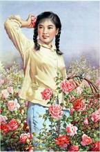China Girl Cultural Revolution Communism Clothing Beauty Vintage Retro Canvas Painting Wall Stickers Posters Bar Home Decor Gift(China)