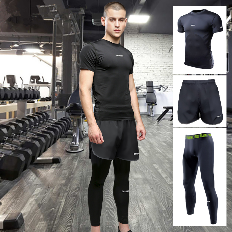 High Quality Men Sport Clothes Suit Short-sleeved Quick-drying Breathable Running Tights Basketball Sports Fitness Training Suit new 2018 fashion men dress shoes black cow leather pointed toe male oxfords business shoes lace up men formal shoes yj b0034 page 7