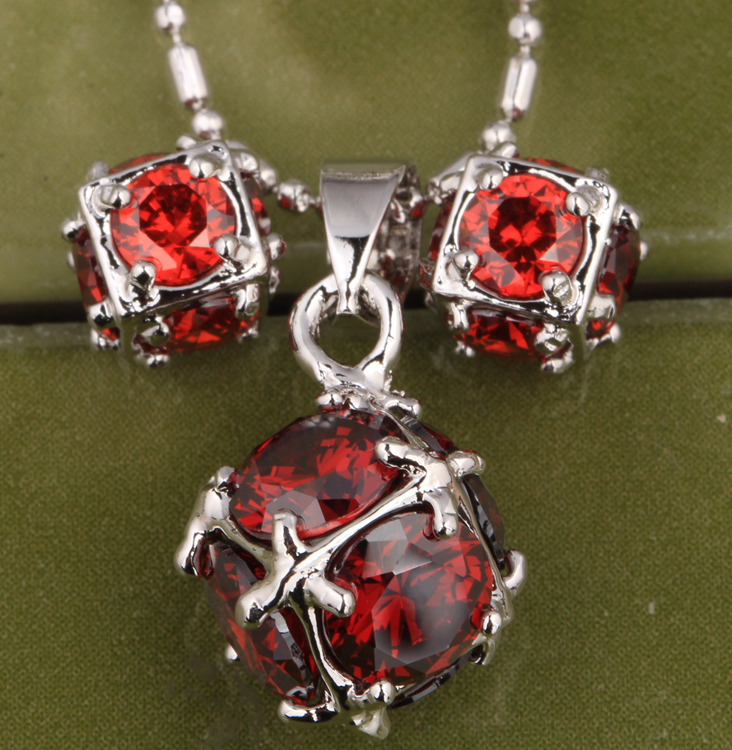 Round Ball Attended By Crowd Wine Red Trendy Garnet 925 Sterling Silver Overlay Jewelry Sets Earrings