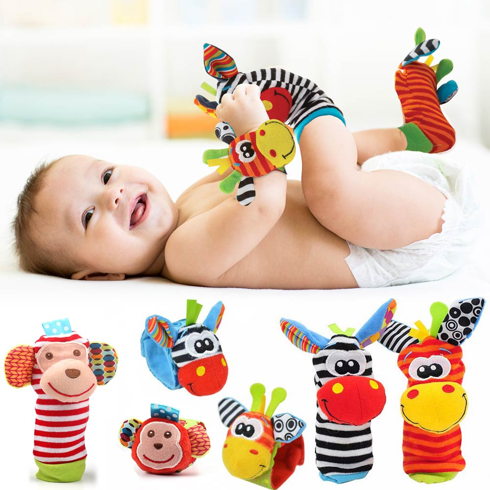 Cartoon Plush Socks Wrist Strap Rattles Baby Toys 0-12 Months Newborn Infant Kids Animal Sock Foot Finder Toy Gift Soft Rattle