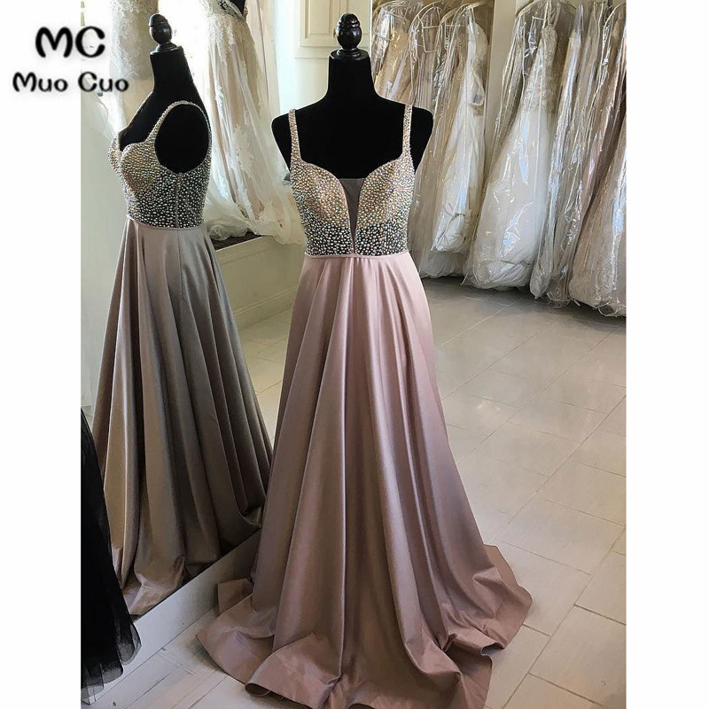 2018 Sparkly A-Line   Evening     Dresses   Long with Beaded V-Neck Spaghetti Straps Sweep Train Satin Formal   Evening   Party   Dress