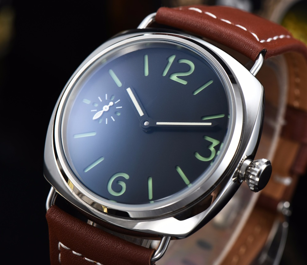 Parnis 45mm watch leather strap Luminous Hands Mechanical movement polishing 316L stainless steel case transparent  H58-6Parnis 45mm watch leather strap Luminous Hands Mechanical movement polishing 316L stainless steel case transparent  H58-6