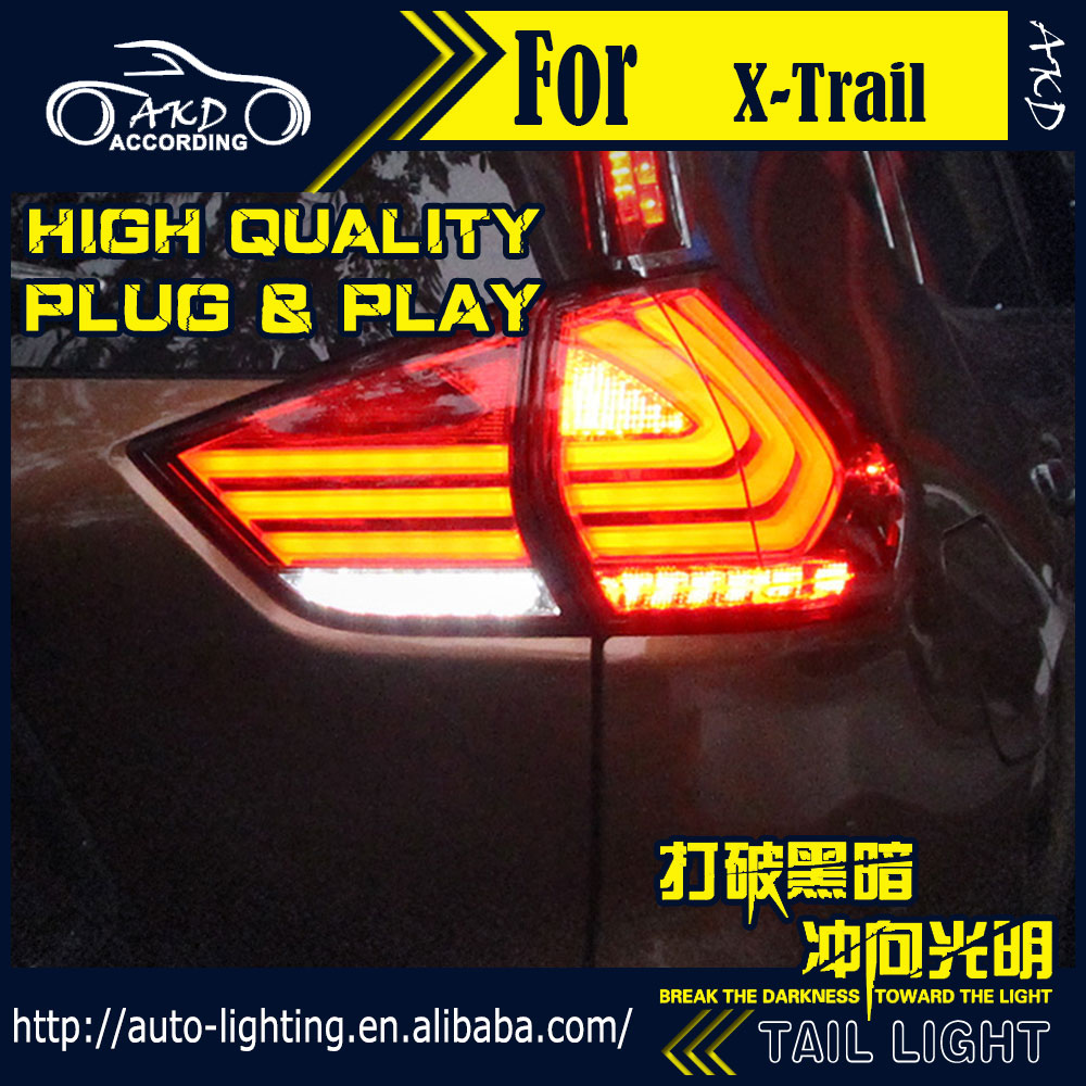 AKD Car Styling Tail Lamp for Nissan X-trail Tail Lights 2014 Rouge LED Tail Light Signal LED DRL Stop Rear Lamp Accessories akd car styling led moving door scuff for nissan x trail door sill plate welcome pedal led brand logo automobile drl accessories