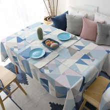 Geometric Print Kitchen Table Linens Rectangular Tablecloths Nappe Oilcloth Cloth Waterproof Cotton Mat Restaurant