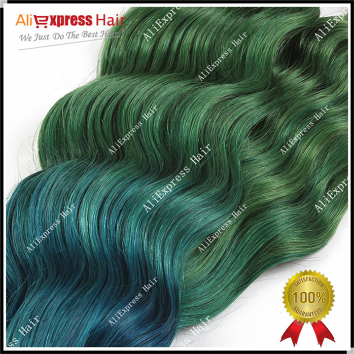 Fashionable Mermaid Hair 1b Blue Green 7a Blue Ombre Weave Brazilian