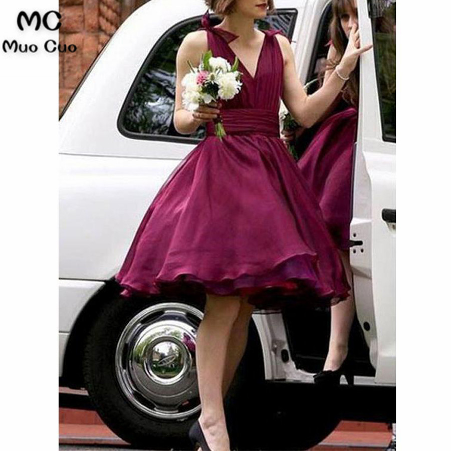 2018 Grape   Bridesmaid     Dress   Short V-Neck Chiffon Bow Formal Wedding Party   Dress   Custom Made Women   Bridesmaid     Dresses