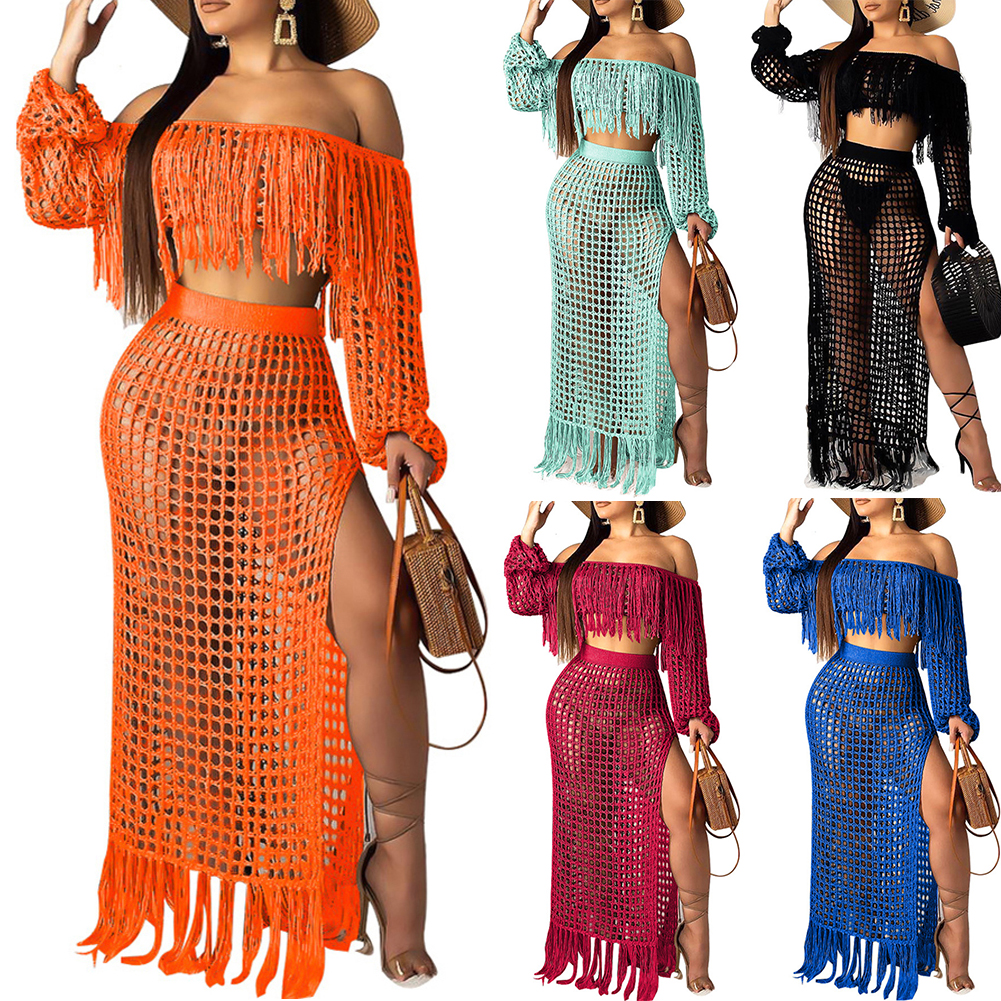2 Piece/Set Summer Crochet Dress Beach Wear Women Crop Top Dress Set Sexy Ladies Long Sleeve Tassels Slash Neck Knit Sets