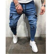 2019 Lado Listrado Jeans Rasgado Moda Streetwear Mens Skinny Jeans