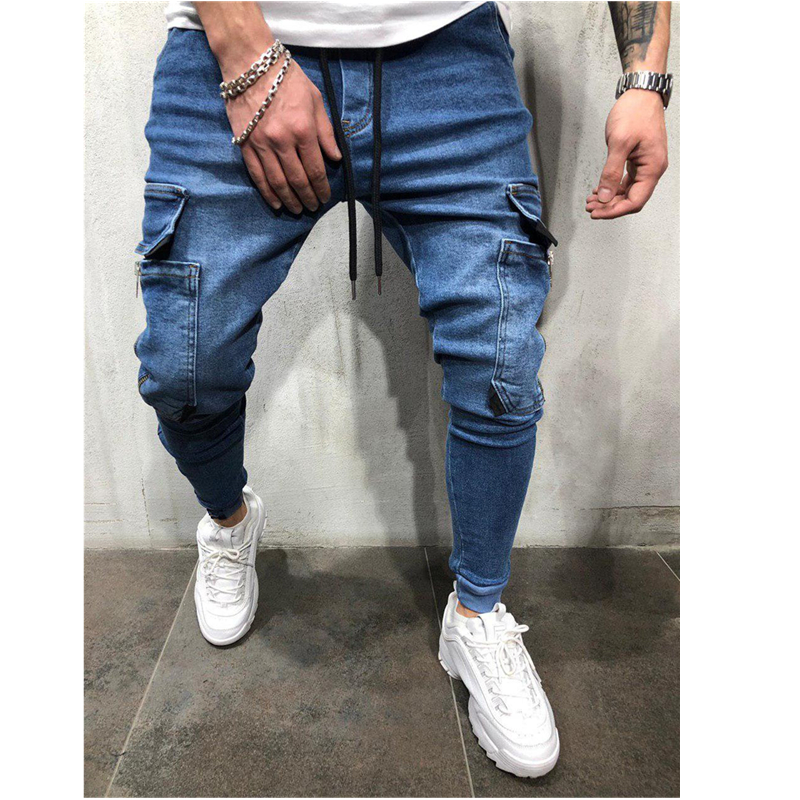 2019 Lado Listrado Jeans Rasgado Moda Streetwear Mens Skinny Jeans Stretch Calças Slim Casual Denim Jeans calças de brim hombre