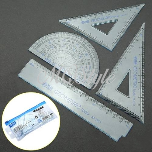 2019 Direct Selling Rushed Triangular Ruler Papelaria Spirograph 4 Pcs School Maths Set Plastic Protractor Square Ruler K4499