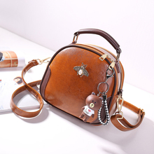 Women Bag Genuine Leather Shoulder Bag Crossbody Famous Brand Tote Handbag Round red Cute Small Fashion Bags with Bear Pendant cute women s crossbody bag with bear print and tassel design