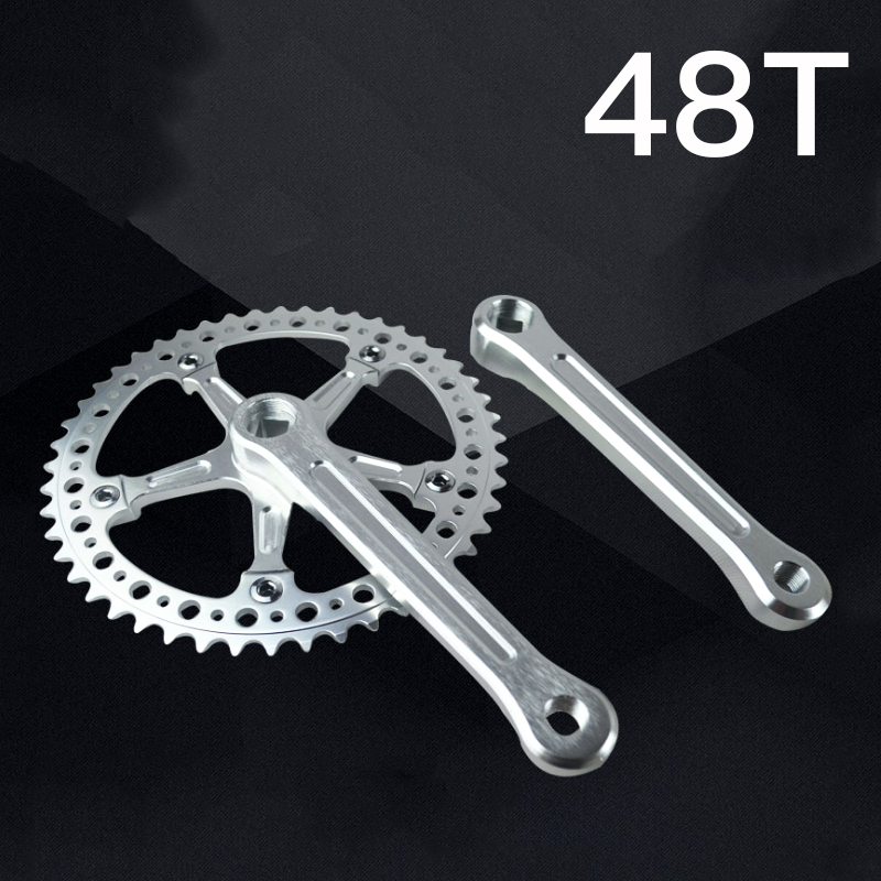 Fixed Gear Foldable Bicycle Bike Retro Chain Wheel Crank Crankset Suit 48T 170mm Hollow Dental plate Crank Bicycle Accessories west biking bike chain wheel 39 53t bicycle crank 170 175mm fit speed 9 mtb road bike cycling bicycle crank