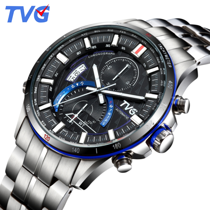 TVG Mens Watches Top Brand Luxury Quartz Watch Men Business Casual Stainless Steel Waterproof Sports Watch Relogio Masculino pu leather strap wrist watches for men luxury stainless steel dial quartz watch mens sports business watch relogio masculino lh
