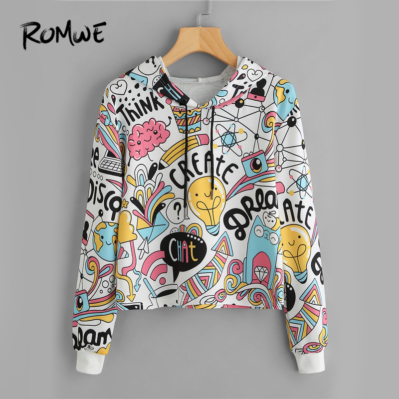 ab205ddda8f5 ROMWE Cartoon Graphic Print Crop Hoodie Spring Autumn Female Hooded ...