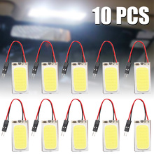 10pcs/set T10 Cob 48 SMD LED 12V 6W Bright White Car Vehicle Panel Lamps Auto Interior Reading Lamp Bulb Light Dome Lights carking 6w 750lm 6000k 45 smd 5050 led white car dome lights kit for 12 new fit new city