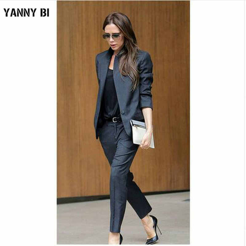 Custom Dark Gray Womens Business Suits Female Office Uniform Ladies Trouser Suits Formal Womens Tuxedo 2 Piece Set Blazer