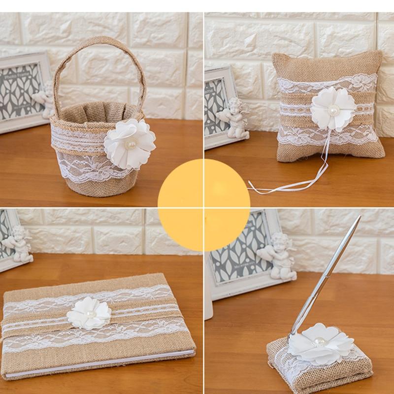 Dentelle toile de jute mariage livre d'or anneau oreiller fleur panier stylo ensemble pour romantique décorations de mariage mariée douche fête fournitures - 5