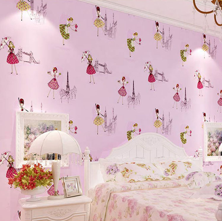 3d texture printed paris tower girls ballet cartoon wall for Children s mural wallpaper
