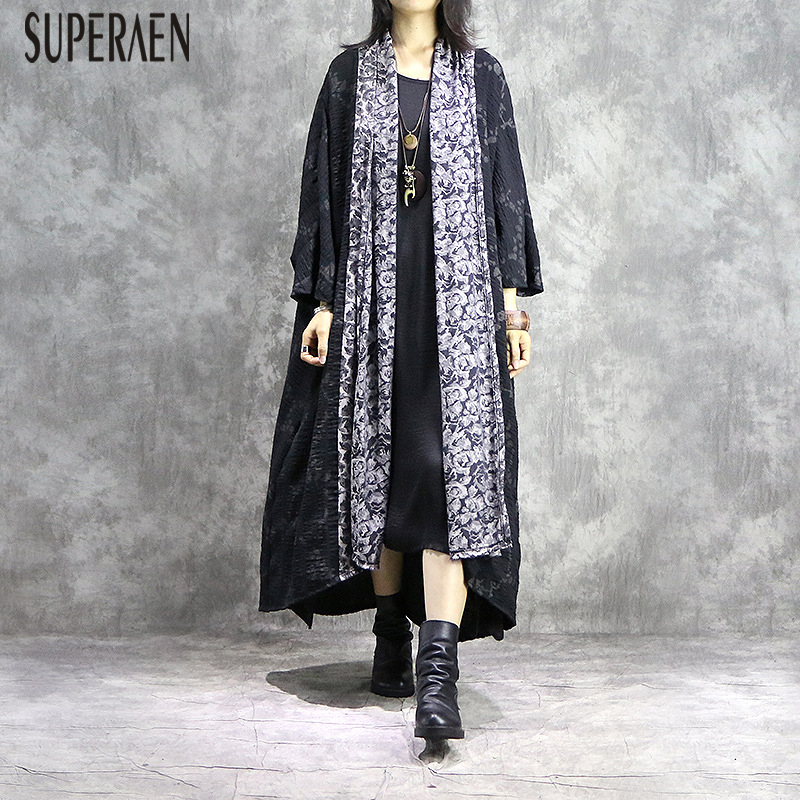 SuperAen Irregular Fashion   Trench   Coat for Women 2019 Spring and Autumn New Lace Ladies Windbreaker Europe Women Clothing