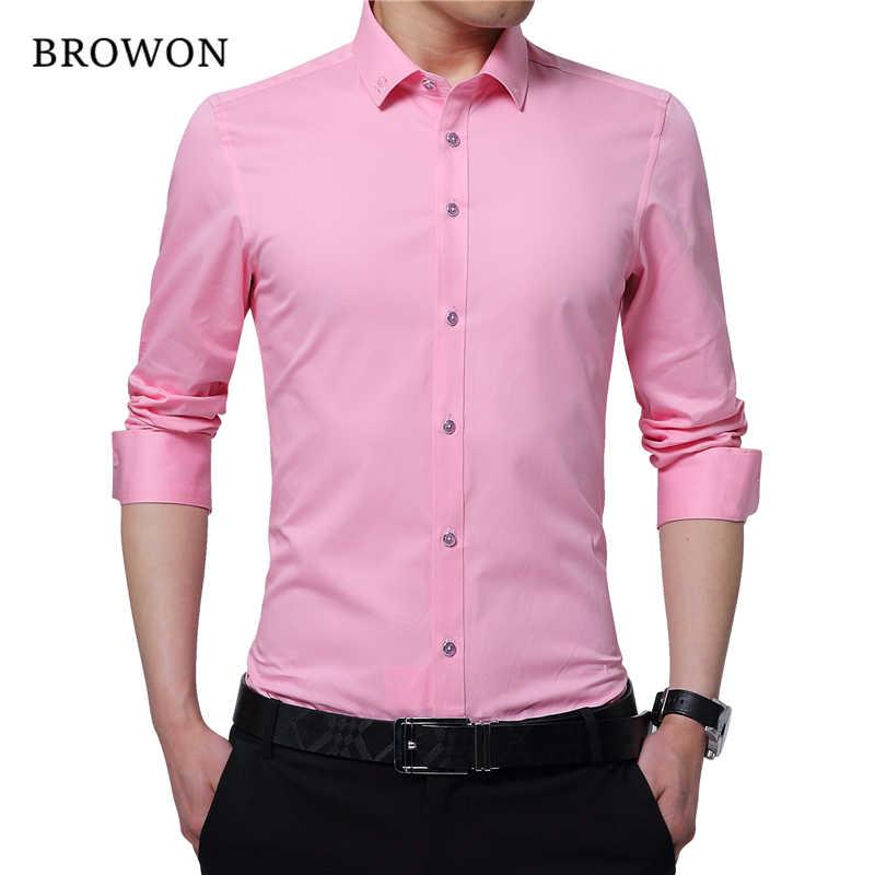 BROWON ビジネスシャツ男性スマートカジュアルシャツ刺繍襟長袖無地メンズフォーマルなシャツカミーサ Masculina