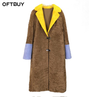 OFTBUY Brand 2017 New Long Winter Coat Women Winter Jacket Women Real Merino Sheep Fur Coat