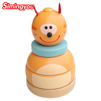 Simingyou Toys For Children Cartoon Bear Tumbler Stacked Music Balance The Game Wooden Puzzle B40 MY26
