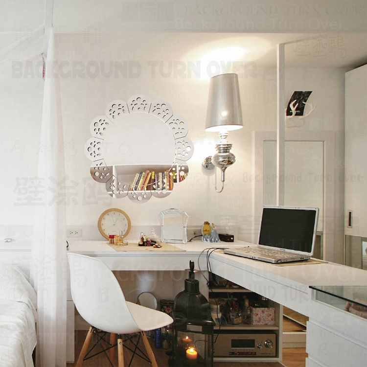 Creative lace hollow design circle mirror frame acrylic sticker on the wall living room home bedroom decor R037