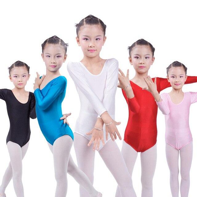 Гимнастическое трико с длинным рукавом, Детские балетные трико для девочек, танцевальный боди, боди, эластичный купальник из спандекса для танцев