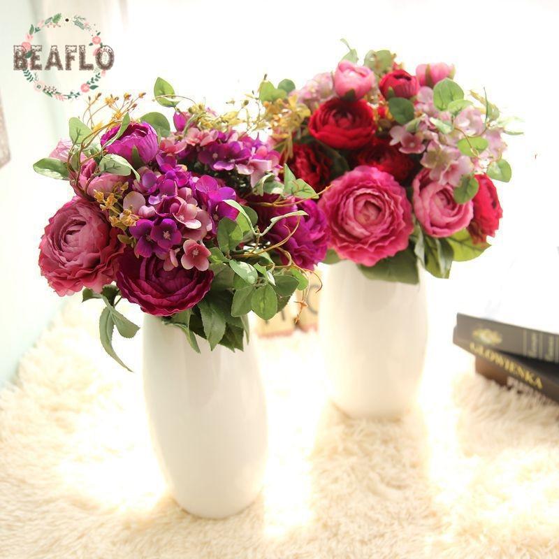 Mazzo Di Fiori Con Ortensie.1 Mazzo Di Fiori Artificiali Falso Rosa Ortensia Con Erba Bouquet
