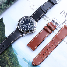 Handmade Genuine Real Calf Leather Watchband Watch Band Strap for Submarine Oyster Datejust 20mm Retro Brown Black Needle Buckle все цены
