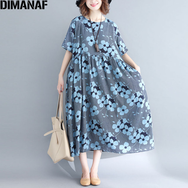72bd5beced8 DIMANAF Women Plus Size Linen Dress Floral Summer Holiday Female Vintage  Lady Vestidos Loose Large Cloting