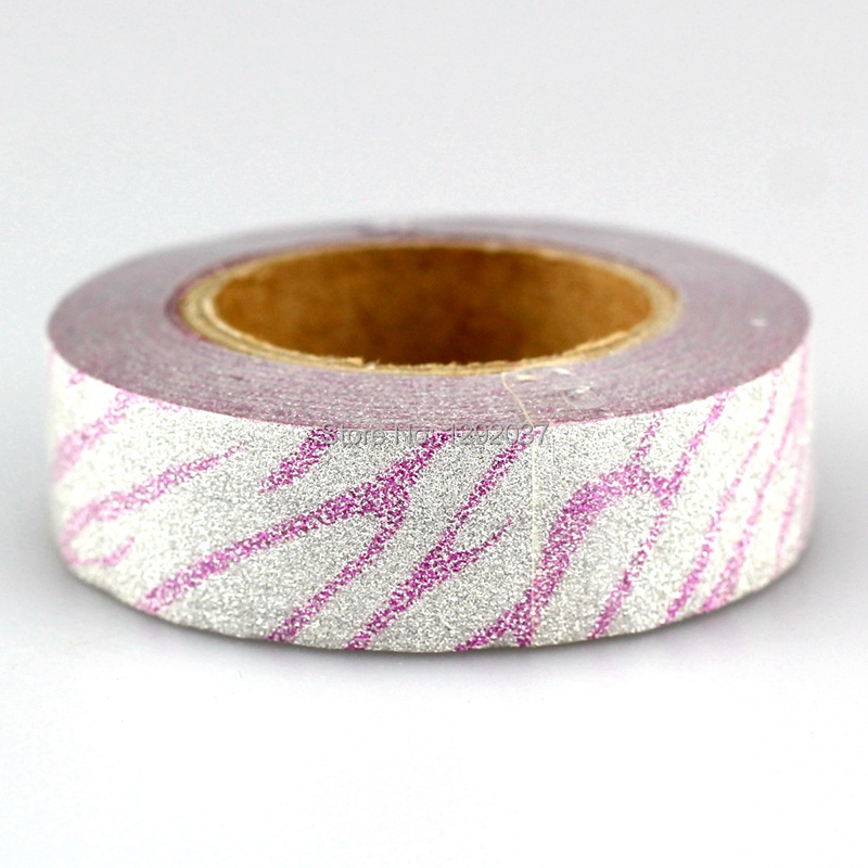 1PCS 15mm*10m Pink Zebra Pattern Glitter Tape Decorative Washi Tape Paper Scrapbooking Adhesive Tapes For Photo Album Stationery