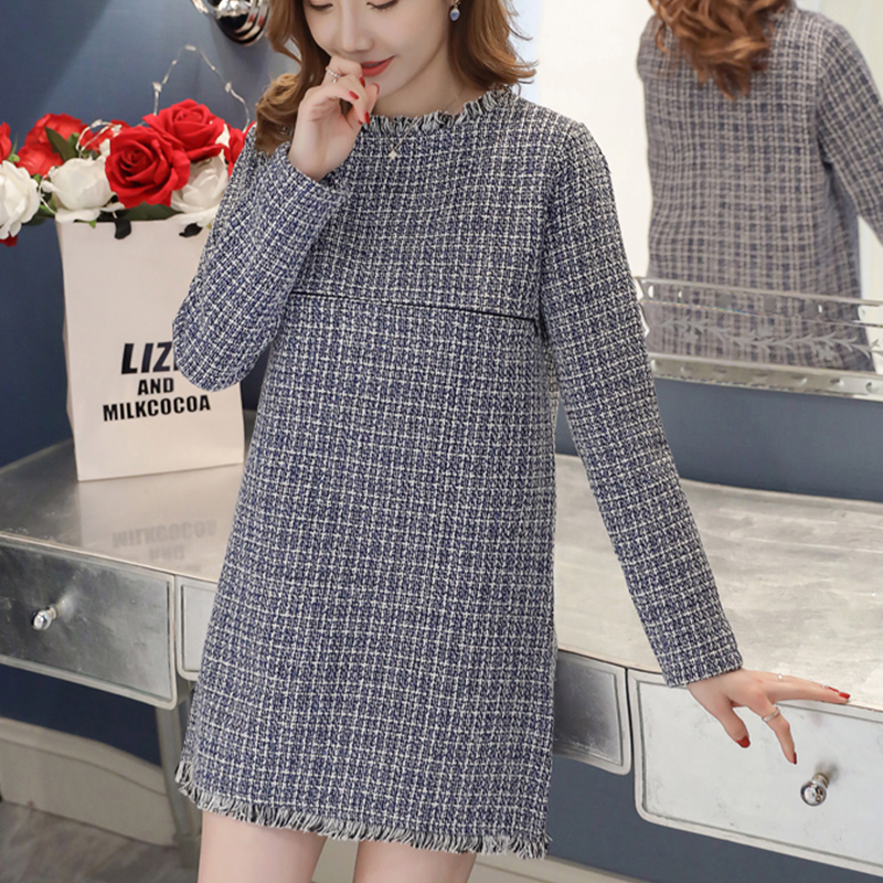 Autumn Winter Plus Size Pregnancy Dress Korean Plaid Nursing Dress Elegant Women O-Neck Long Sleeve Tassel Maternity Clothes tassel tie neck trumpet sleeve tiered floral dress