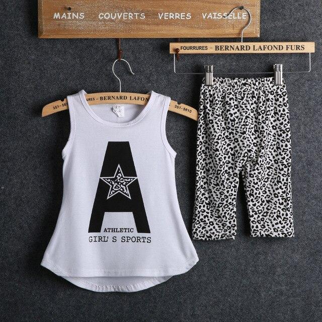 acff1a3310e9a Enfants vêtements 2 à 9 ans blanc imprimé débardeur + pantalon 2 pcs enfant  enfants outfit