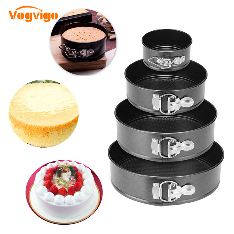VOGVIGO 4 Black Carbon Steel Cake Molds Non Stick Metal Bake Mould Round Cake Baking Pan Removable Bottom Bakeware Cake Supplies in Baking Pastry Tools from Home Garden